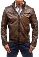 Hnědá pánská kožená bunda z ekokůže Bolf 1773A