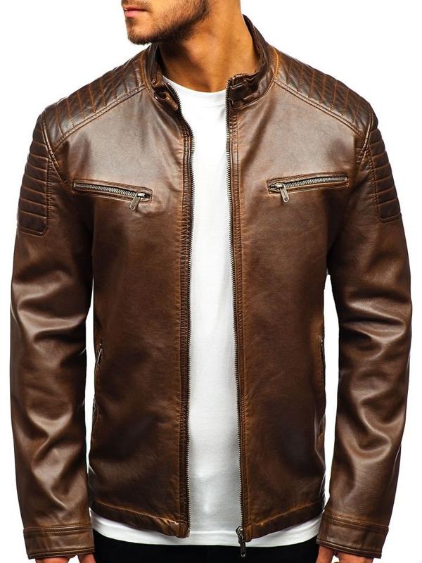 Hnědá pánská koženková bunda Bolf EX802