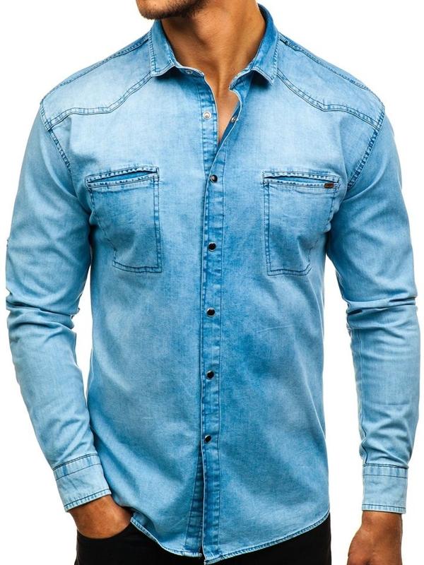 Modrá pánská džínová košile s dlouhým rukávem Bolf 2643