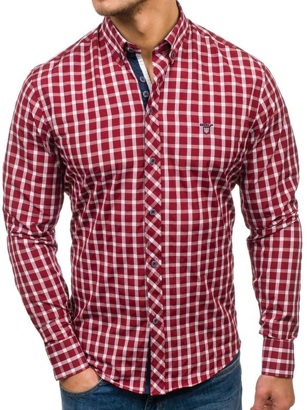 Pánská bordová elegantní kostkovaná košile s dlouhým rukávem Bolf 4747-1
