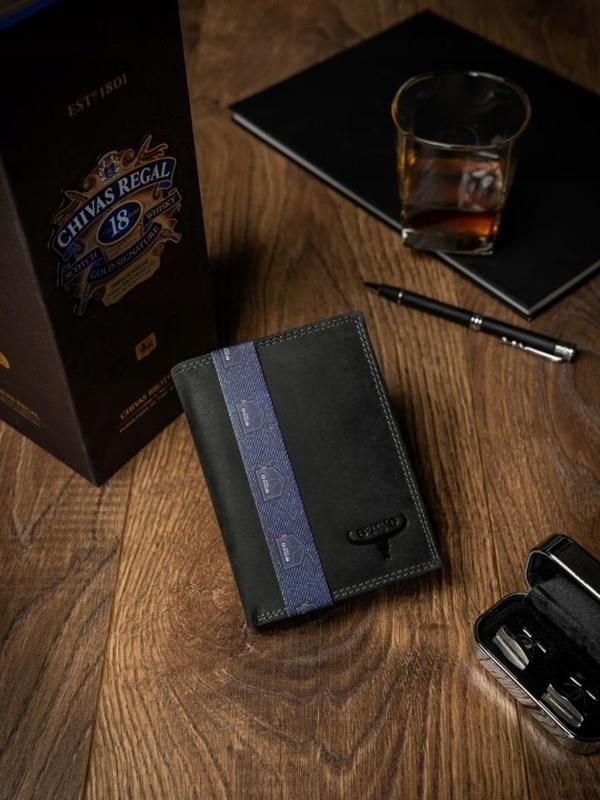 Pánská černá kožená peněženka 2229