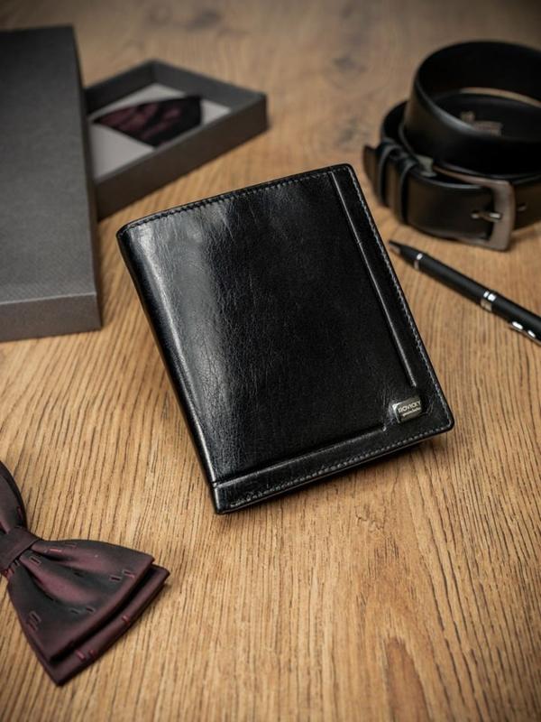 Pánská černá kožená peněženka 234