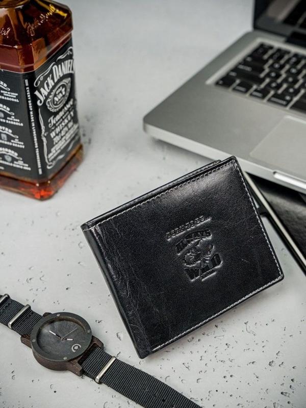 Pánská černá kožená peněženka 3206