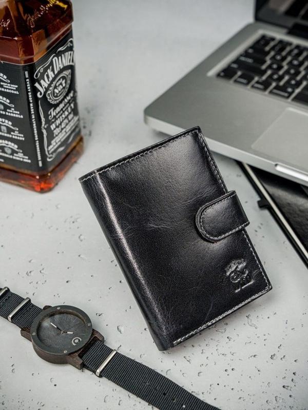 Pánská černá kožená peněženka 3208