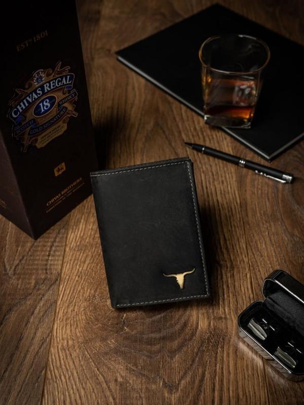 Pánská černá kožená peněženka 498