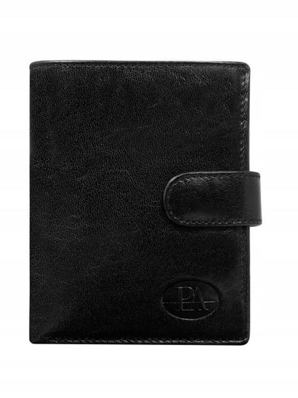 Pánská černá kožená peněženka 74