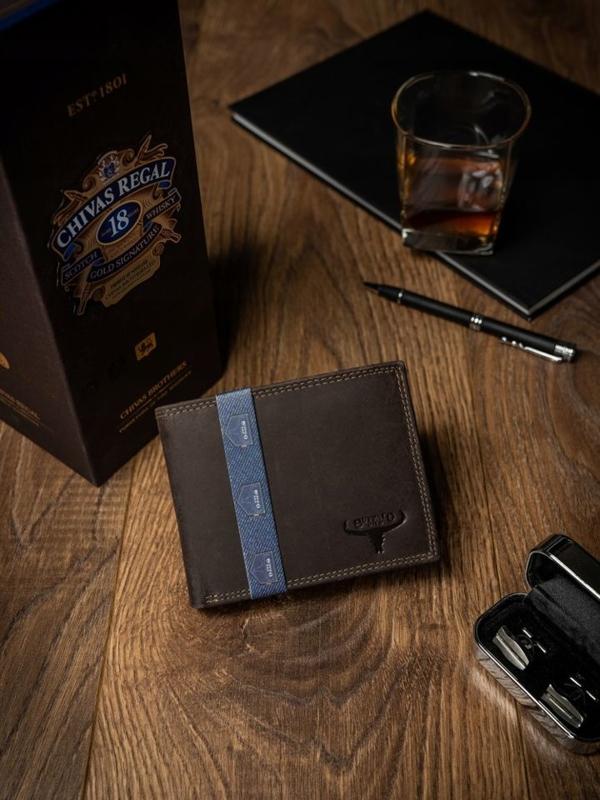 Pánská hnědá kožená peněženka 2222