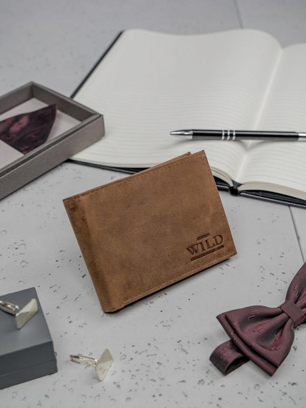 Pánská světle hnědá kožená peněženka 3183