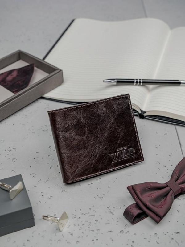 Pánská tmavě hnědá kožená peněženka 3189