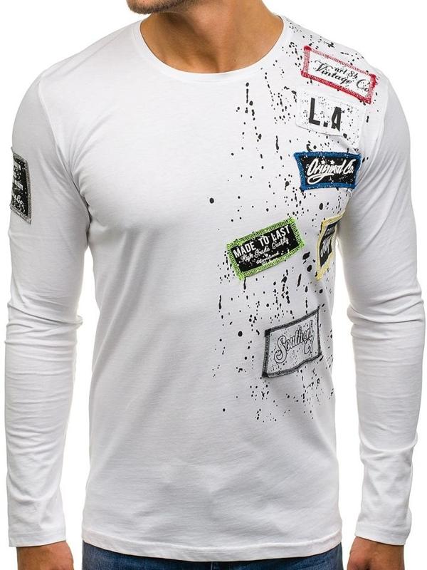 Pánské bílé tričko s dlouhým rukávem s potiskem Bolf 1088