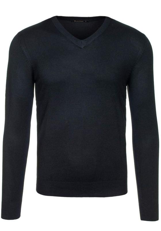 Pánský černý svetr s výstřihem do V Bolf 001