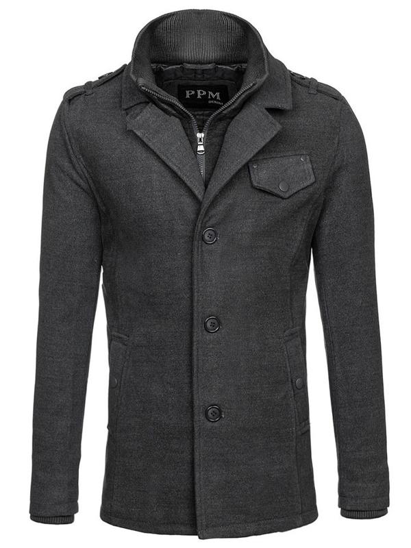 Šedý pánský kabát Bolf 8853F