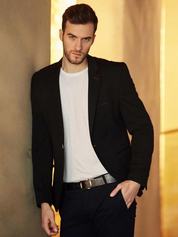 Stylizace č. 397 - elegantní sako, tričko s dluhými rukávy, chino kalhoty