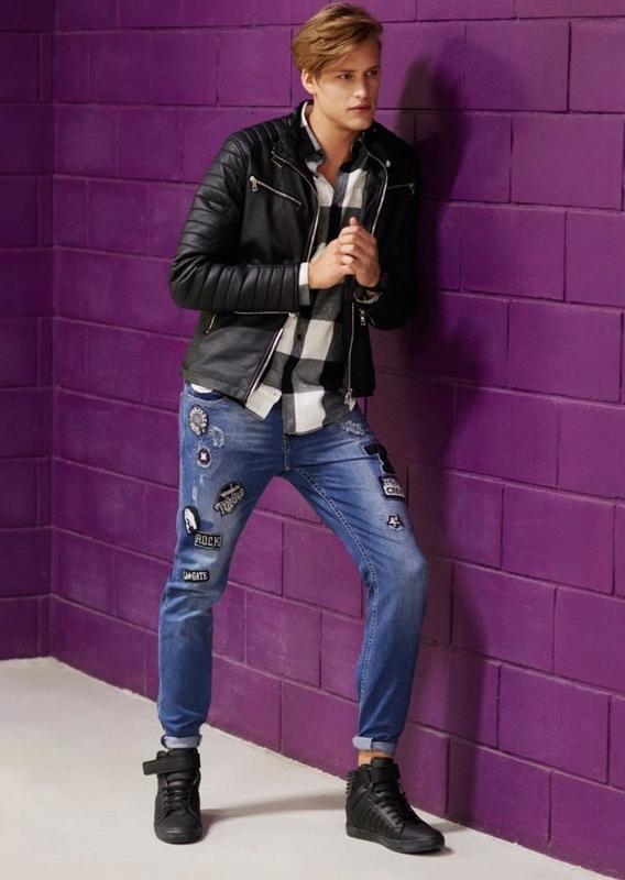 Stylizace č. 70 - kožená bunda, károvaná košile, džíny