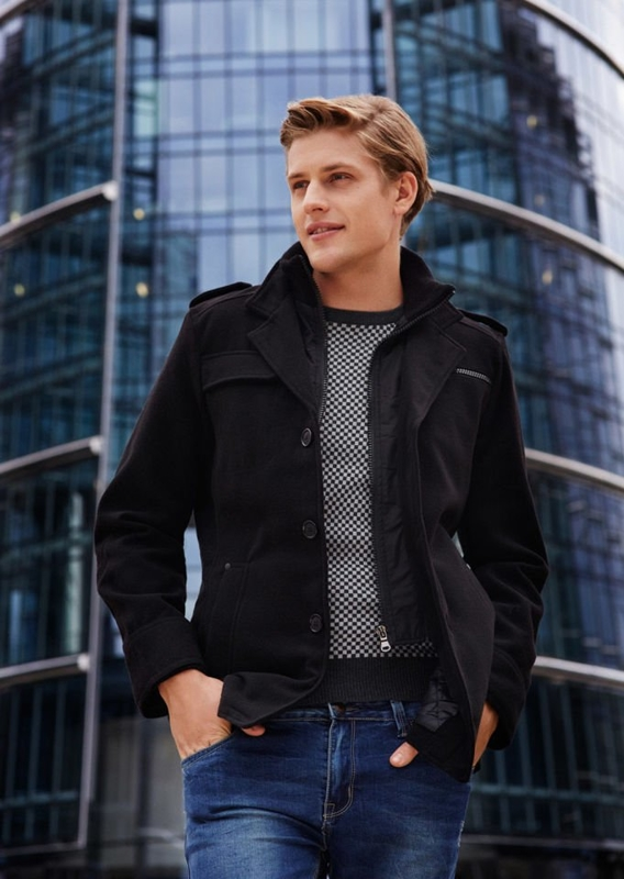 Stylizace č. 76 - zimní kabát, svetr, džíny