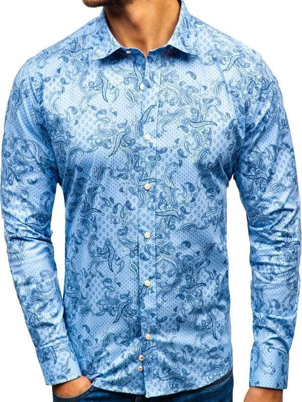 Světle modrá pánská vzorovaná košile s dlouhým rukávem Bolf 301G74