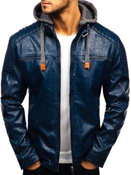 Tmavě modrá pánská koženková bunda Bolf ex703