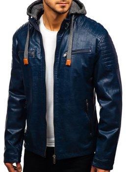 Tmavě modrá pánská koženková bunda Bolf ex708