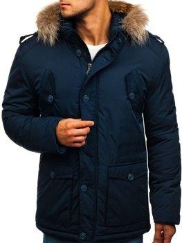 Tmavě modrá pánská zimní bunda Bolf 1633