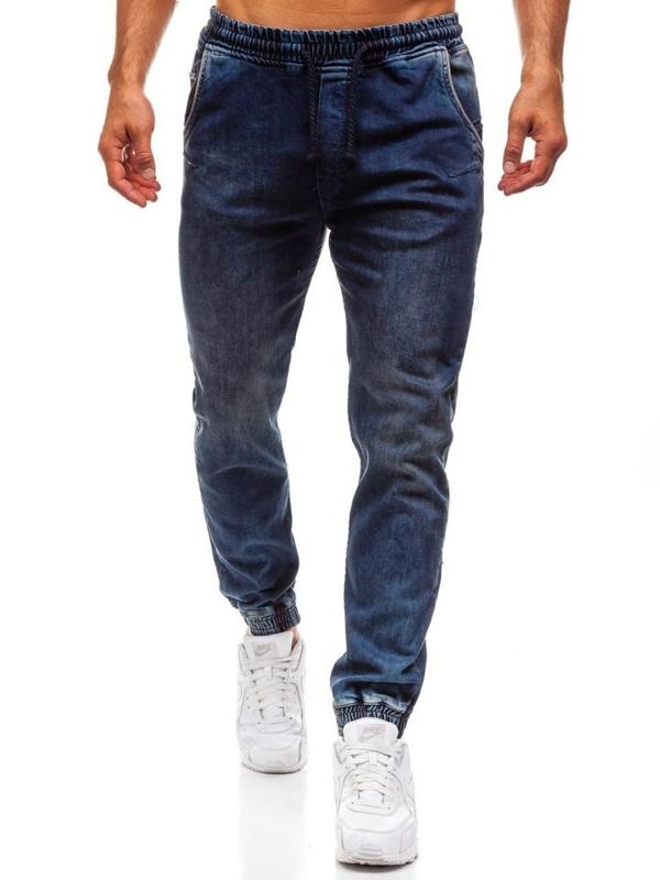 Tmavě modré pánské džínové jogger kalhoty Bolf 708