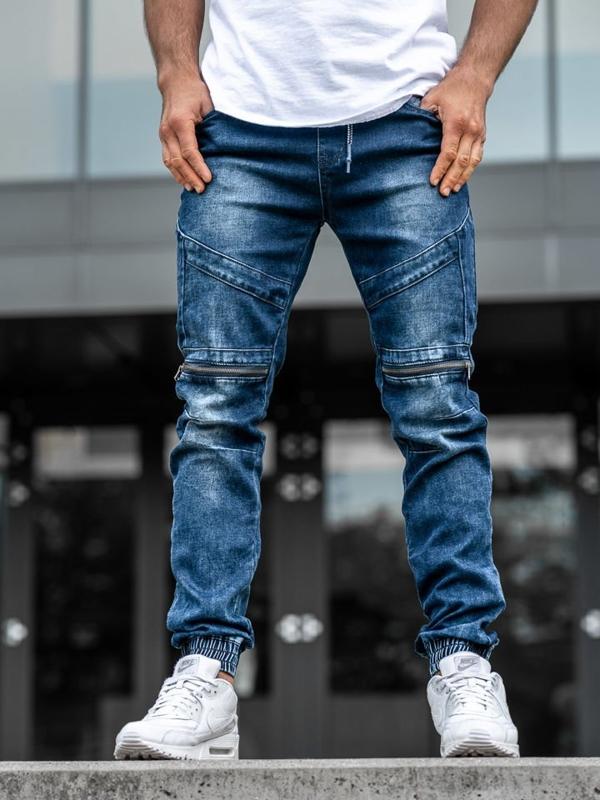 Tmavě modré pánské džínové jogger kalhoty Bolf KA576