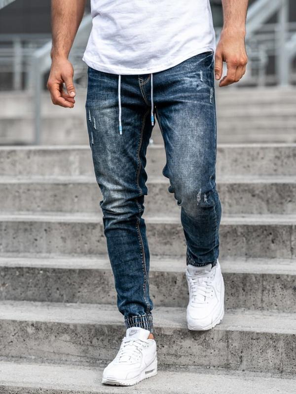 Tmavě modré pánské džínové jogger kalhoty Bolf KA679