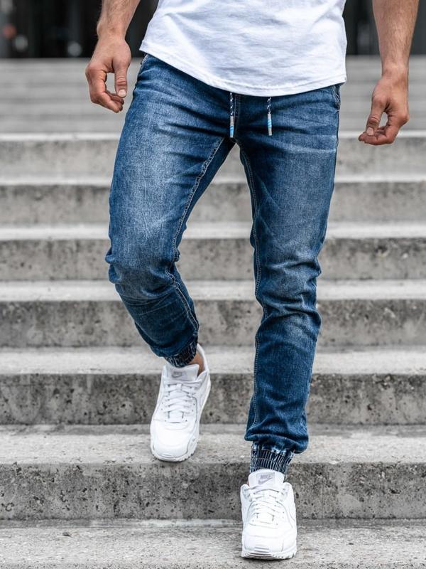 Tmavě modré pánské džínové jogger kalhoty Bolf KA730