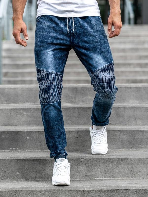 Tmavě modré pánské džínové jogger kalhoty Bolf KK1023