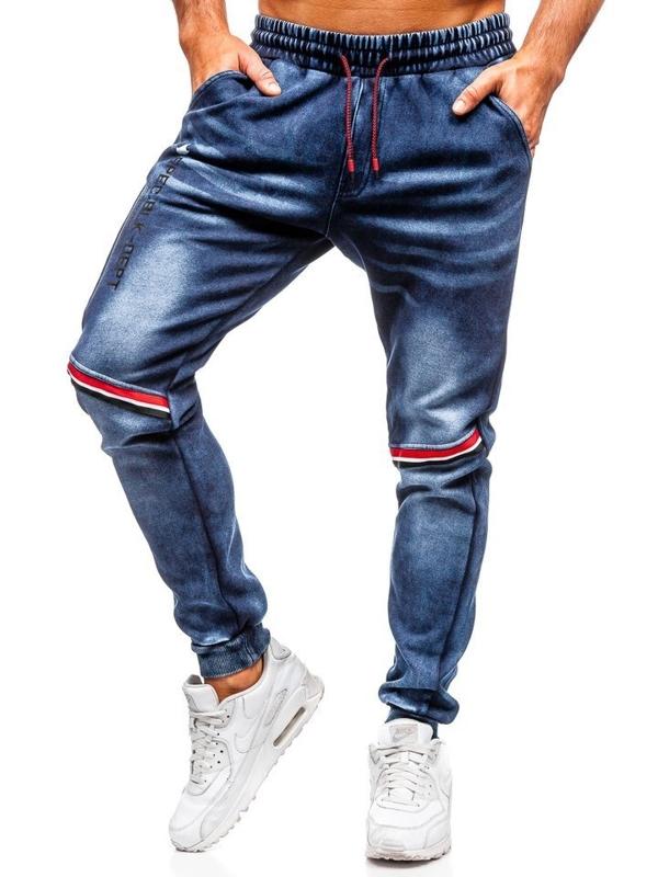 Tmavě modré pánské džínové jogger kalhoty Bolf KK1058