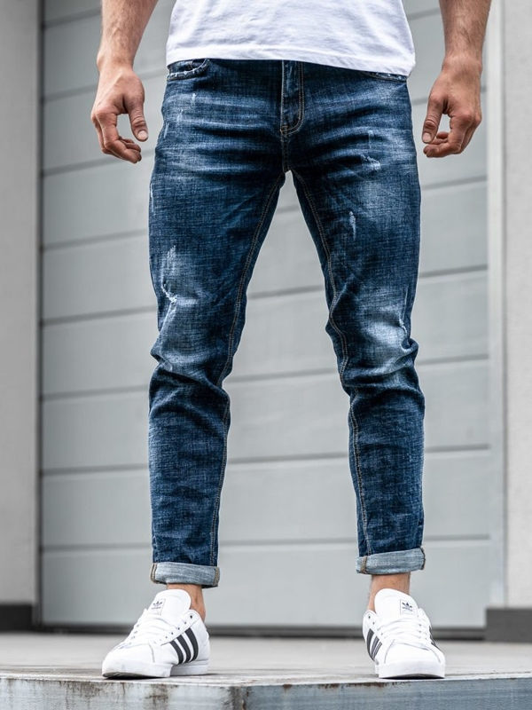 Tmavě modré pánské džínové jogger kalhoty Bolf KX271