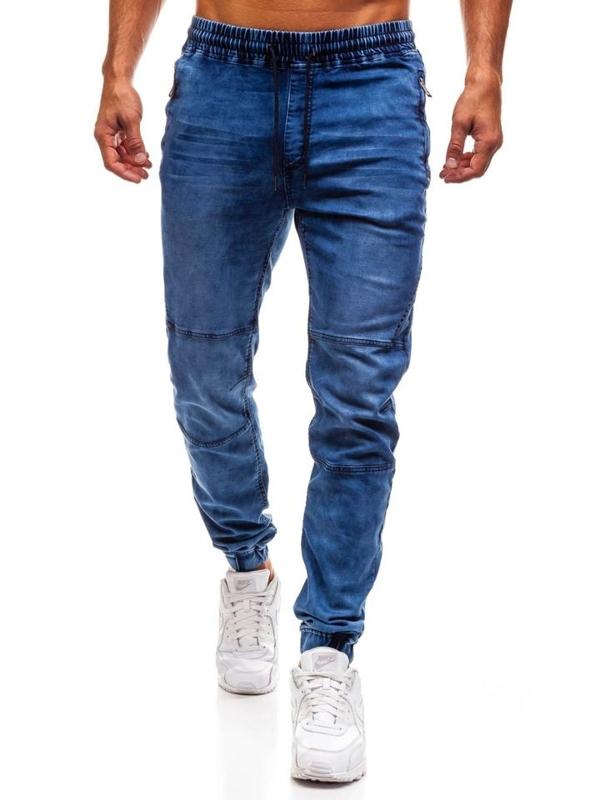 Tmavě modré pánské džínové jogger kalhoty Bolf Y232