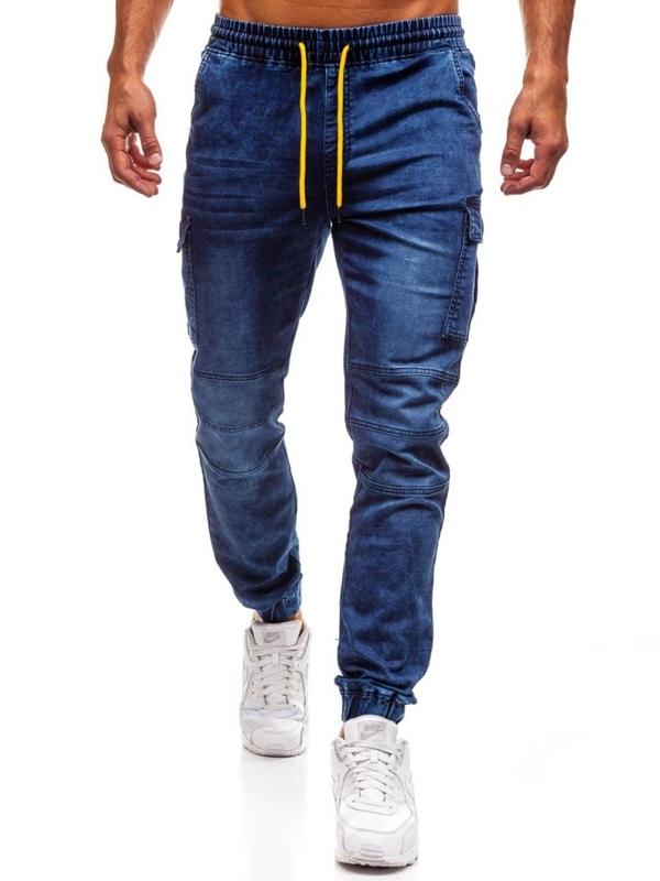 Tmavě modré pánské džínové jogger kalhoty Bolf Y263