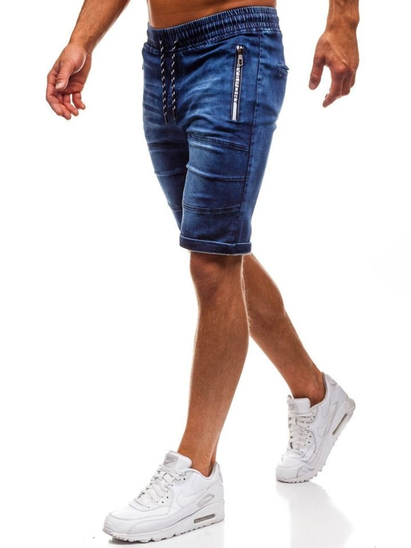 Tmavě modré pánské džínové kraťasy Bolf HY188