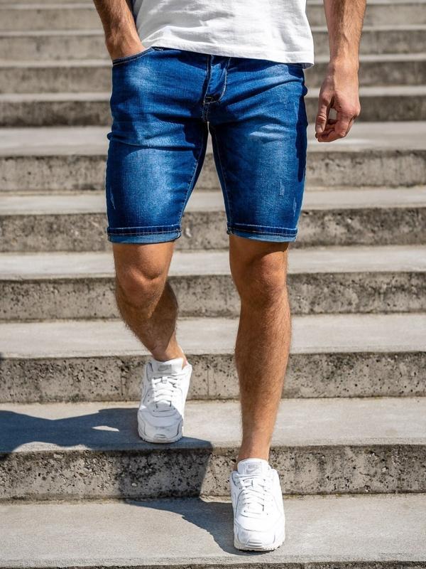 Tmavě modré pánské džínové kraťasy Bolf KG3770
