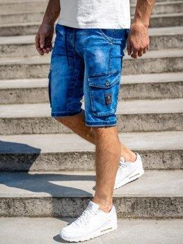 Tmavě modré pánské džínové kraťasy Bolf KR1076-2