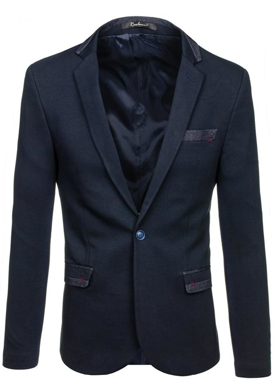 Tmavě modré pánské elegantní sako Bolf M004