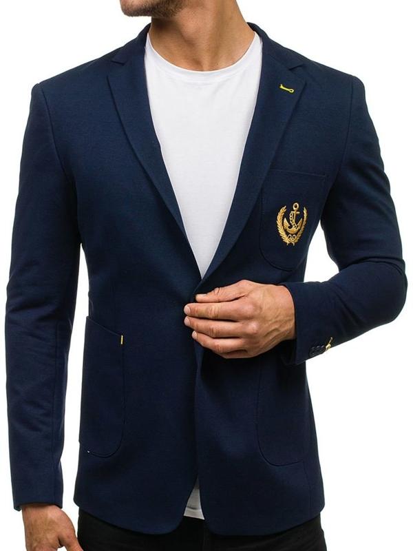 Tmavě modré pánské elegantní sako Bolf P10