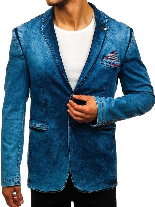 Tmavě modré pánské ležérní džínové sako Bolf 0038
