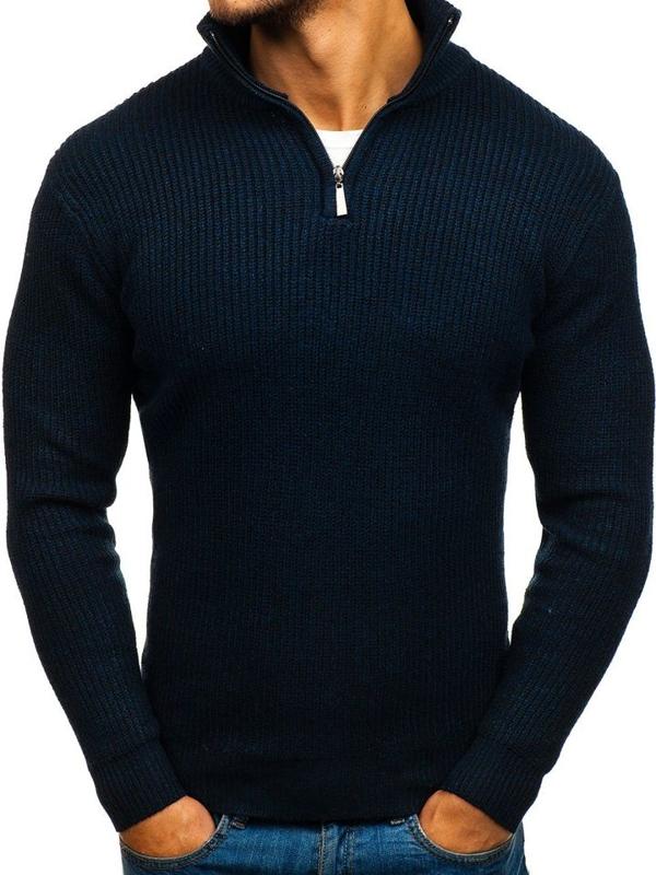 Tmavě modrý pánský svetr Bolf H1811