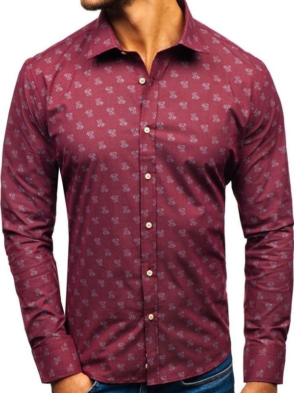 Vínová pánská vzorovaná košile s dlouhým rukávem Bolf 300G43