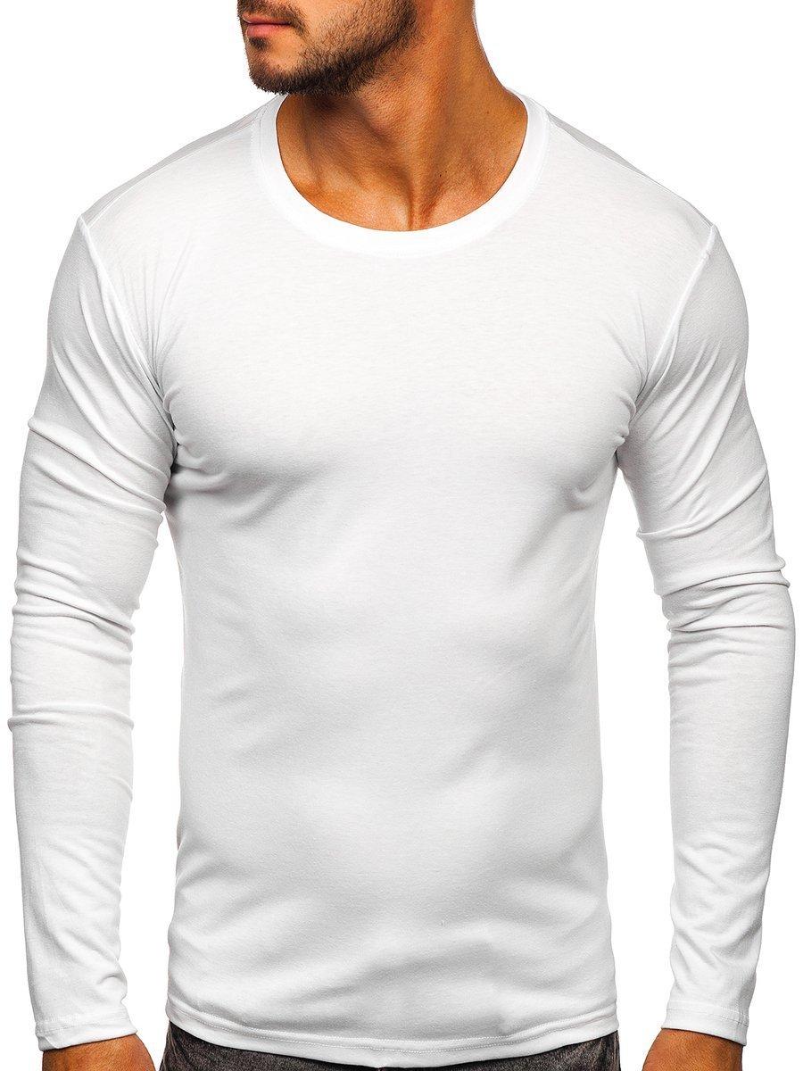 23b053b54e1 Bílé pánské tričko s dlouhým rukávem bez potisku Bolf 2088L