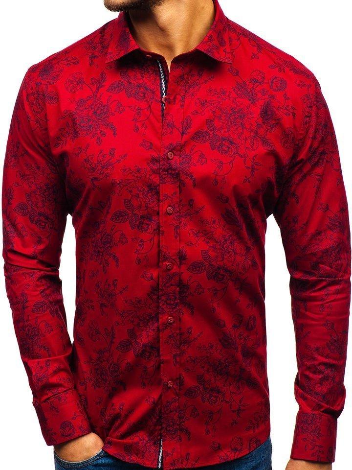 f15c83b1ef1 Červená pánská vzorovaná košile s dlouhým rukávem Bolf 470G19