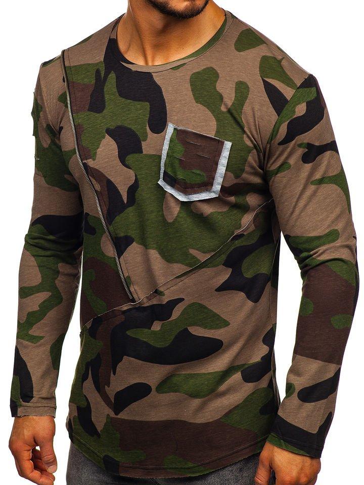 2f7c135c6103 Khaki pánské maskáčové tričko s dlouhým rukávem a potiskem Bolf 1090