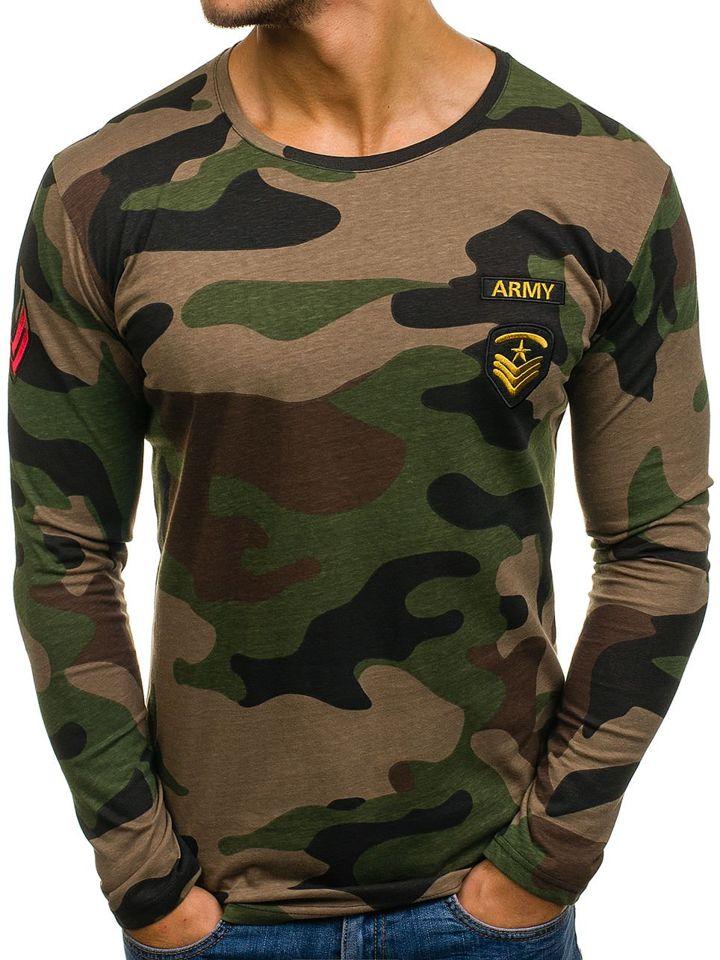 af7523b4a466 Pánské khaki maskáčové tričko s dlouhým rukávem s potiskem Bolf 1086