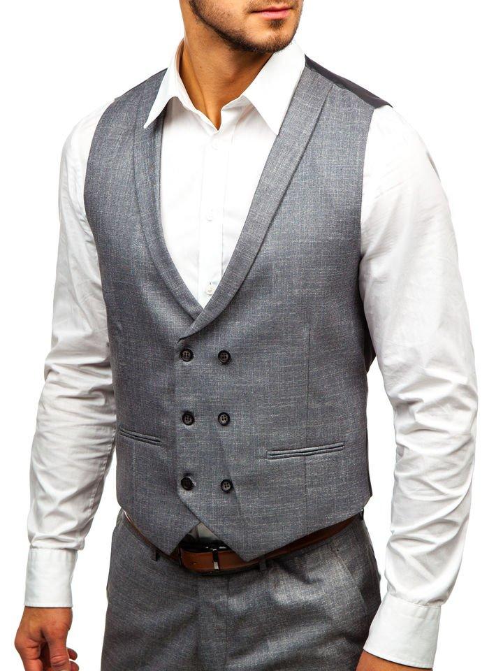 8726930770 Šedý pánský oblek s vestou Bolf 18300