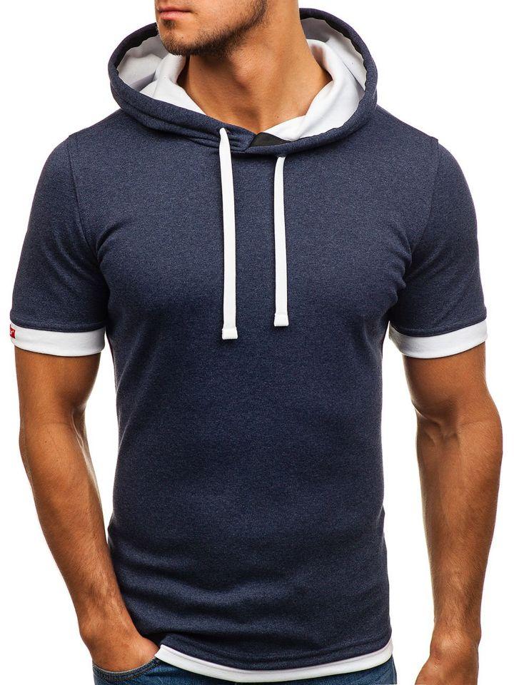 ec3af54f7 Tmavě modré pánské tričko bez potisku Bolf 08