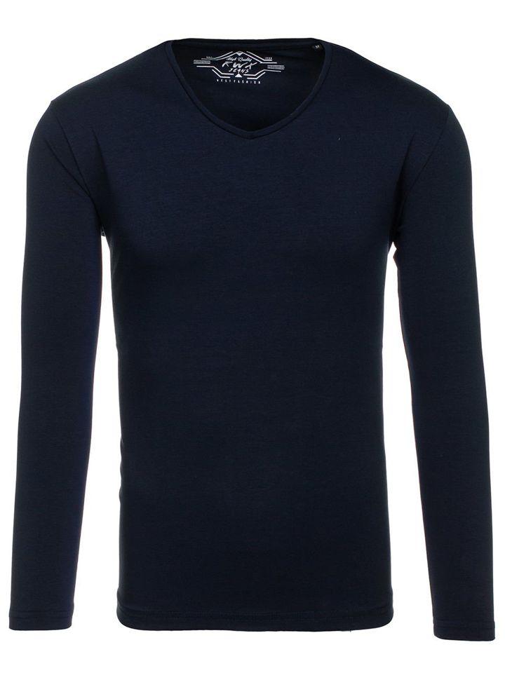 c6b0ff180 Tmavě modré pánské tričko s dlouhým rukávem bez potisku Bolf 172008