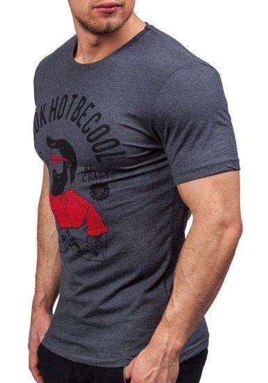Antracitové pánské tričko s potiskem Bolf 1025