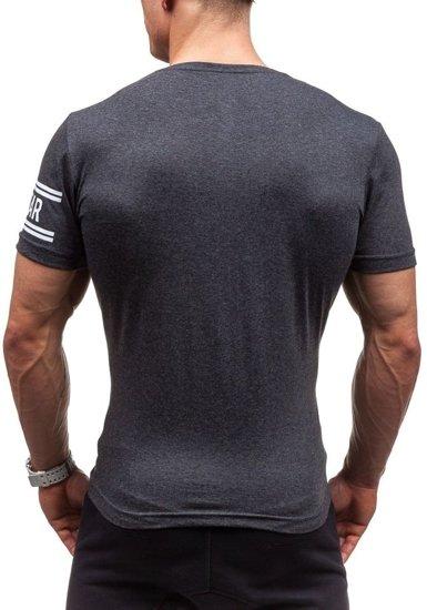 Antracitové pánské tričko s potiskem Bolf CMR20