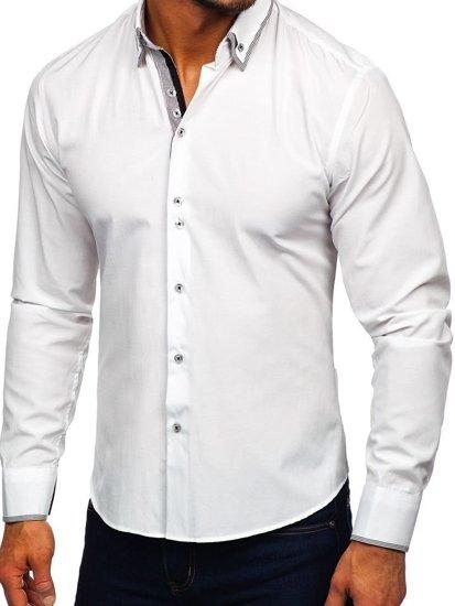 Bílá pánská elegantní košile s dlouhým rukávem Bolf 6929-A